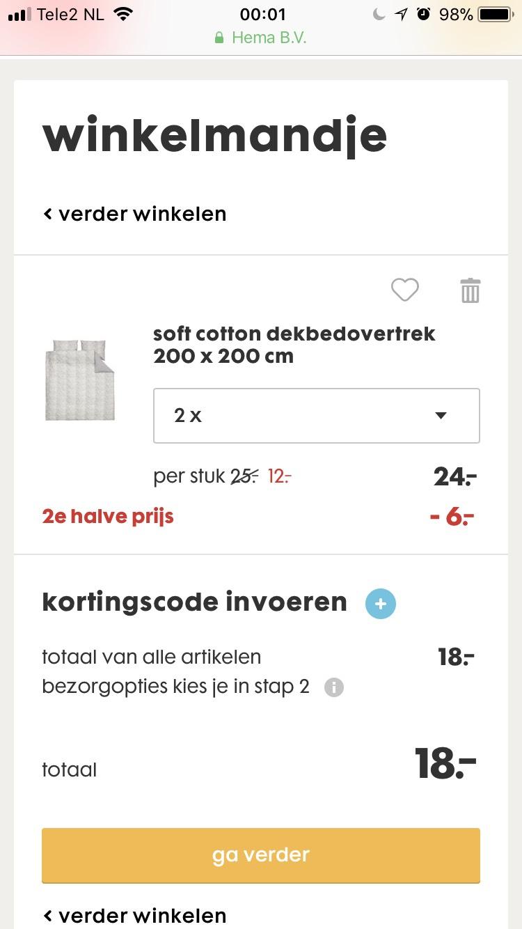 €18 voor 2 dekbedovertrekken (200x200cm)