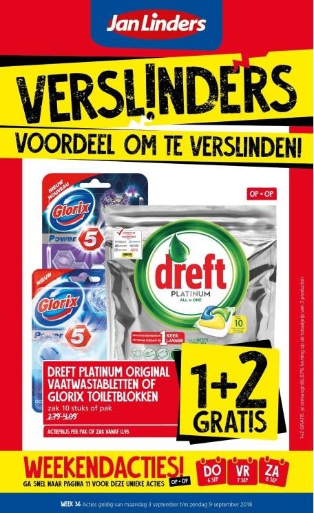 Jan Linders: 1+2 gratis Dreft Premium Original vaatwastabletten of Glorix toiletblokken