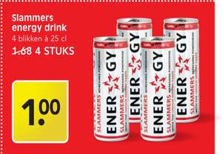 Slammers energy drink 4 voor 1 euro! (Emté)