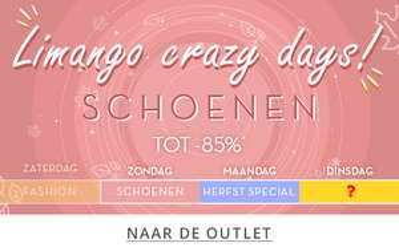 Crazy (Shoe) days bij Limango, kortingen van 85% en gratis verzending boven 20 euro