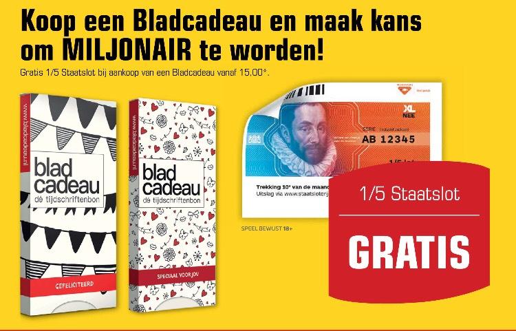Gratis 1/5 staatslot bij aankoop Bladcadeau (minimale waarde €15,-)