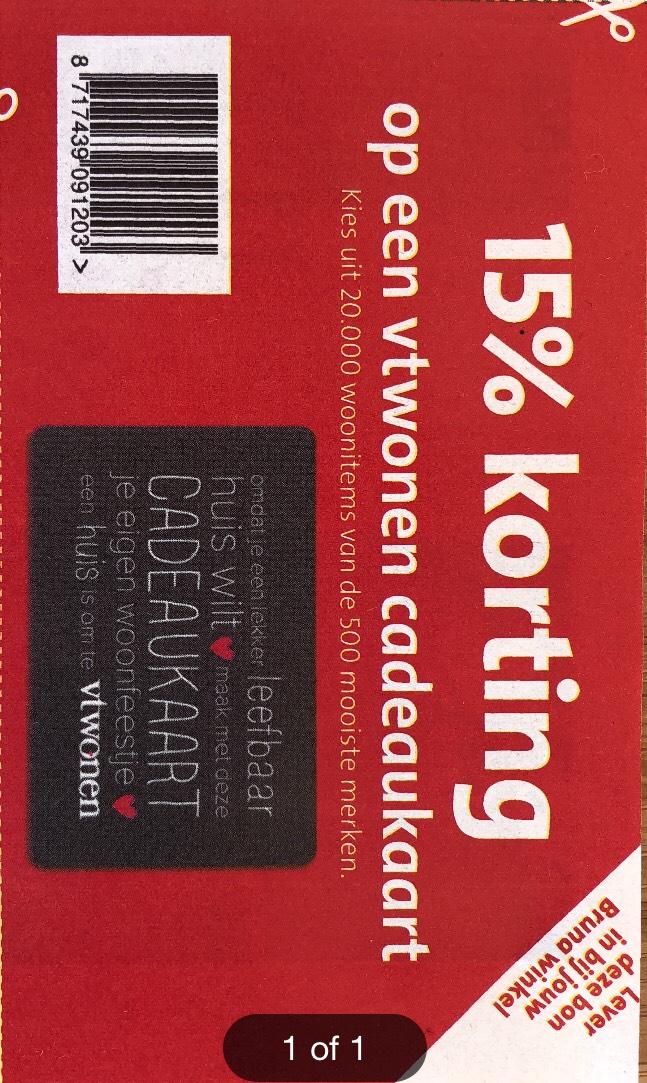 15% korting op vtwonen cadeaukaart