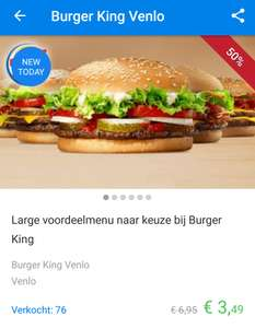 Via Social Deal groot menu voor €3,49 bij Burger King in Venlo