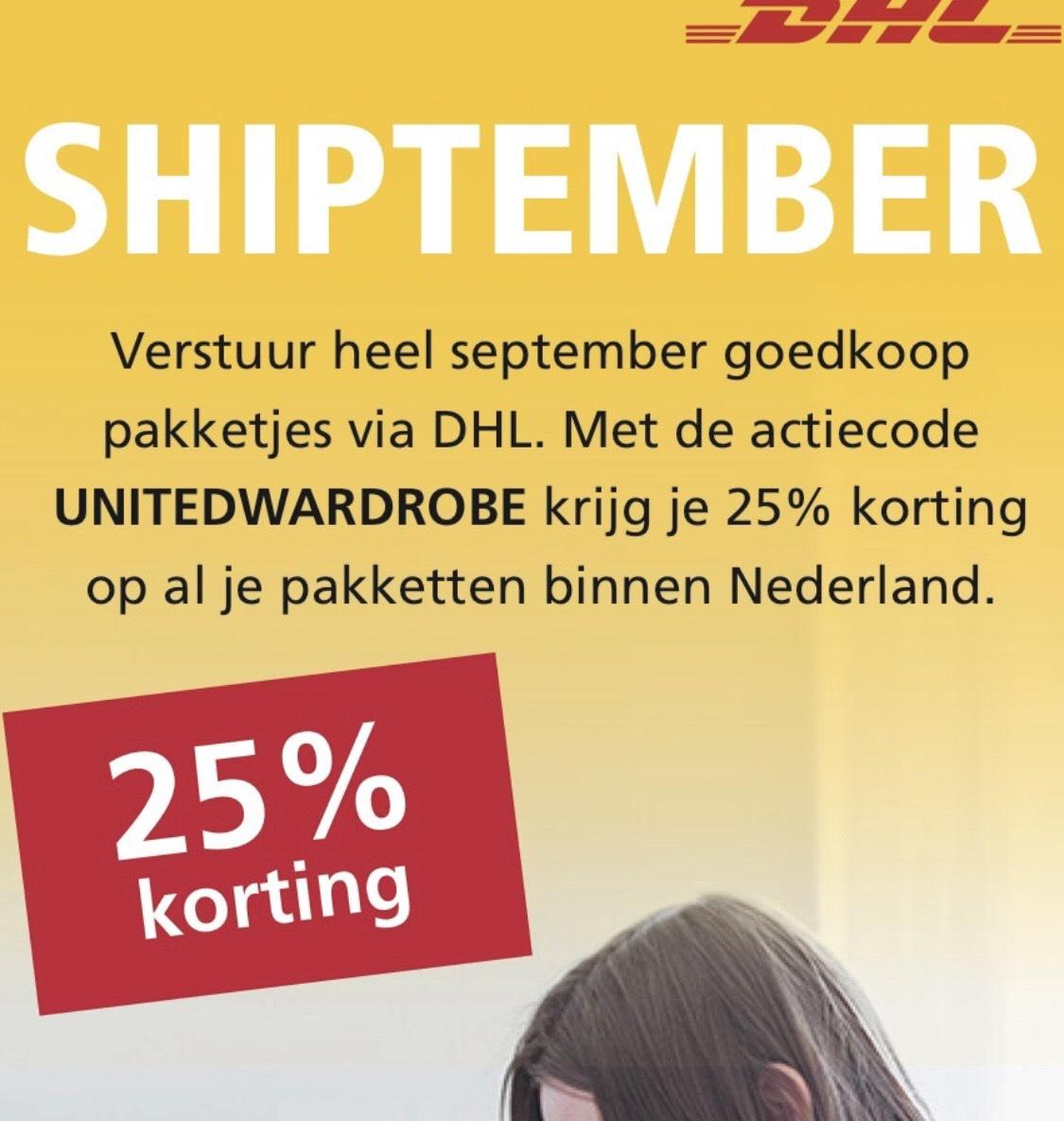 25% op versturen van pakketjes bij DHL