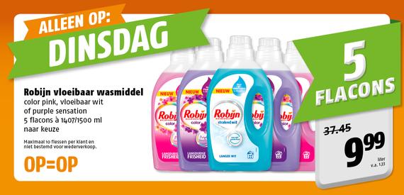 5 flessen Robijn wasmiddel voor 10€