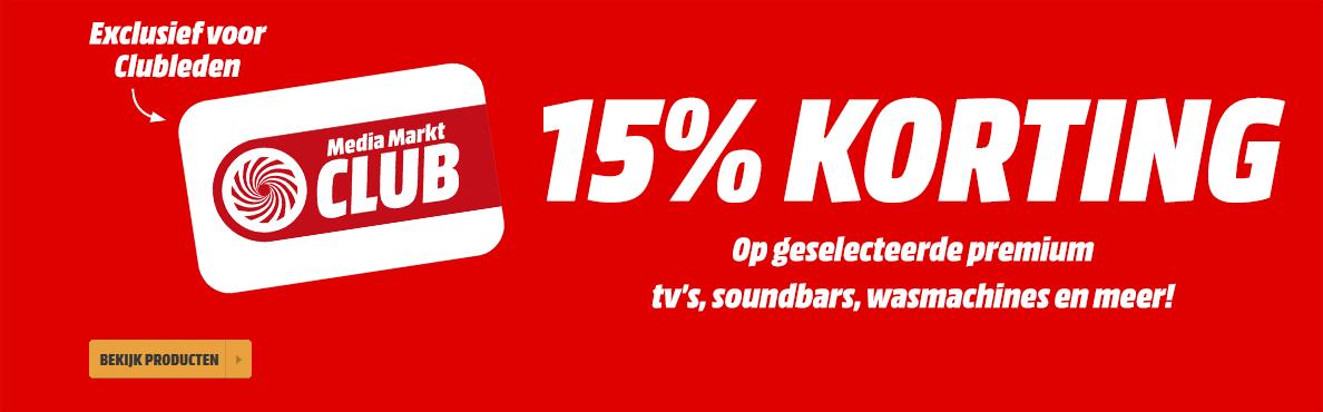 15% korting op geselecteerde premium tv's, soundbars, wasmachines en meer @ Media Markt (Club)