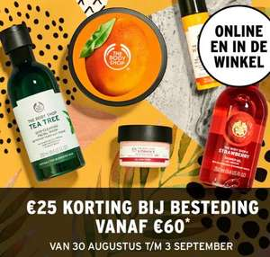 Met code €25 korting (va €60) @ The Body Shop