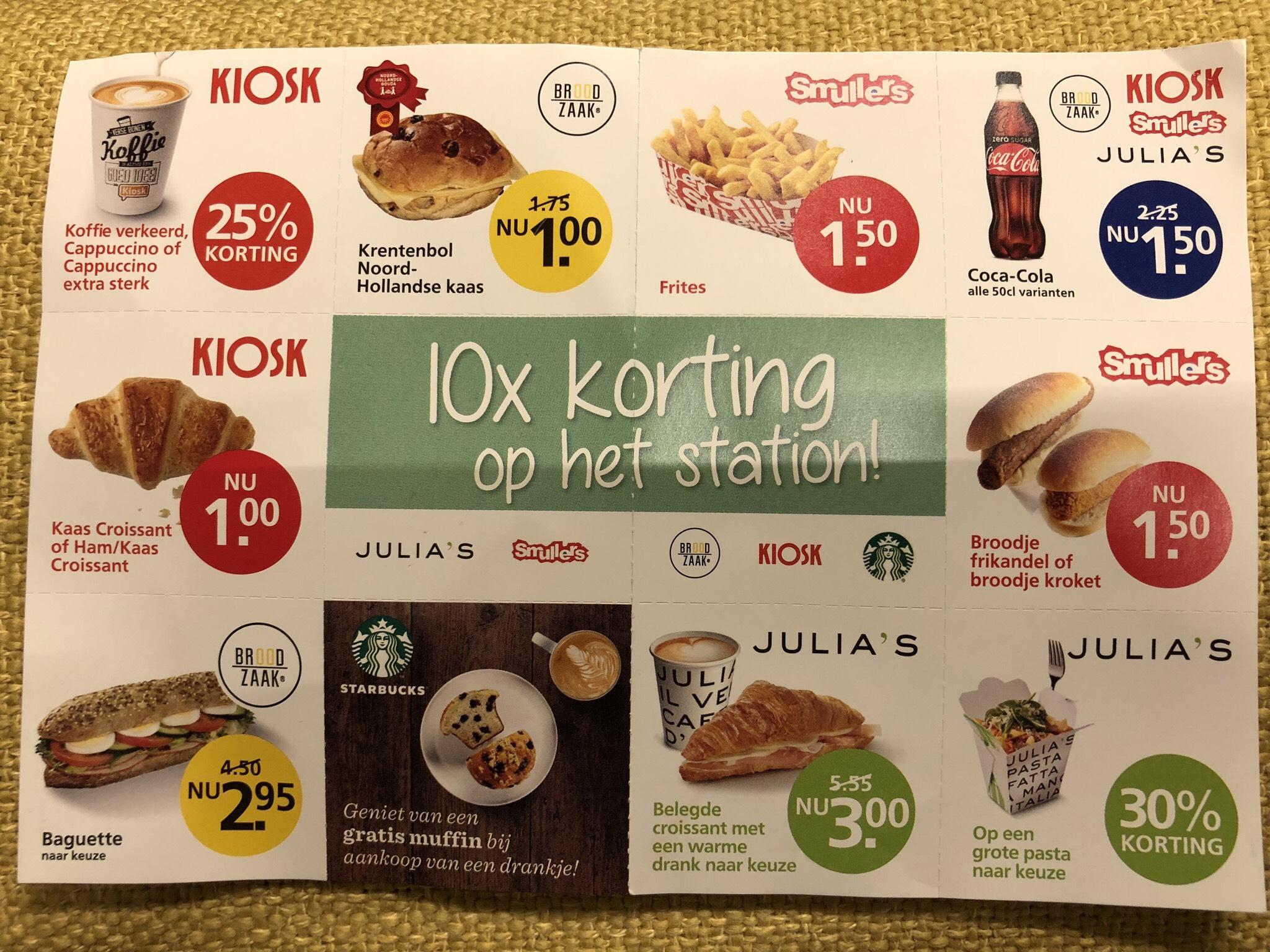 Diverse kortingscoupons eten & drinken NS stations