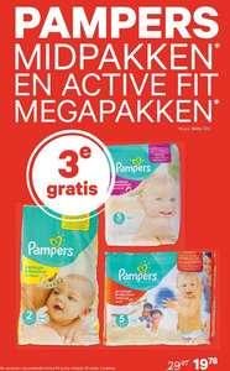 2+1 gratis op Pampers midpakken en Active Fit megapakken @ Etos