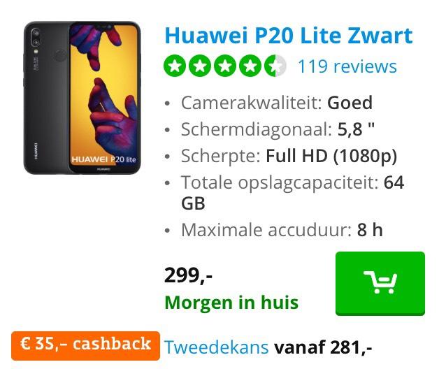 Huawei p20 lite cashback!