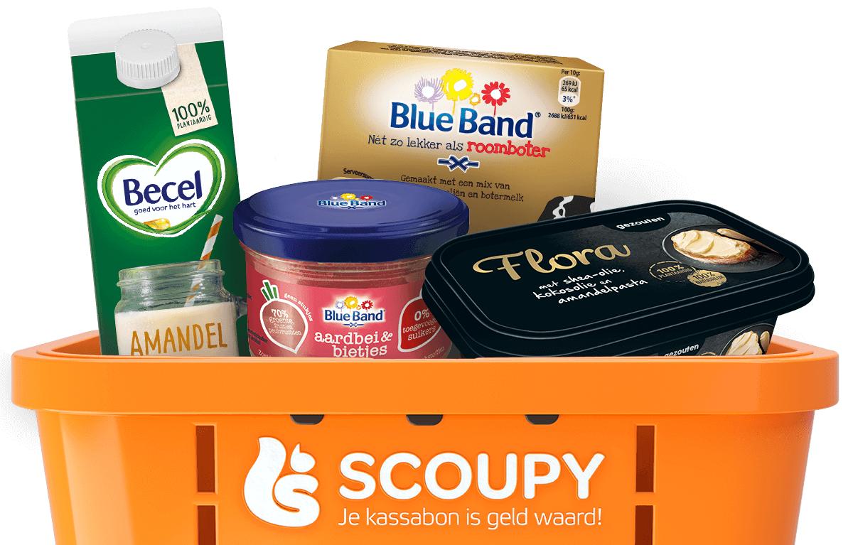 Scoupy: Flora smeerbaar, Blue Band Spread + botermelk, Becel drink, havermoutrepen, Struik soep, Mascotte (allen actief)