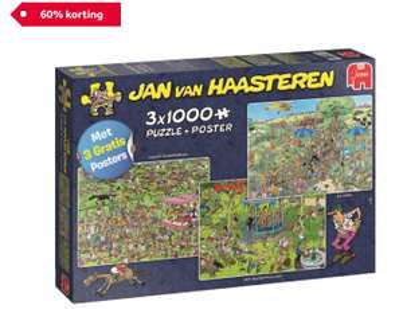 Jumbo Jan van Haasteren 3-in-1 puzzel Ascot paardenrace - 3 x 1000 stukjes
