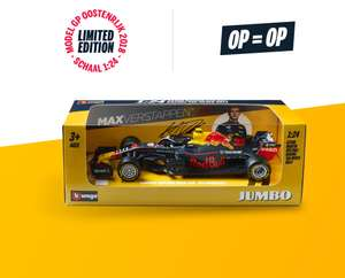 Spaar bij Jumbo voor de raceauto van Max Verstappen schaal 1:24 (op=op)