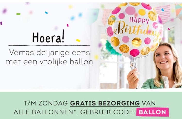 Gratis bezorging van ballonnen bij Greetz