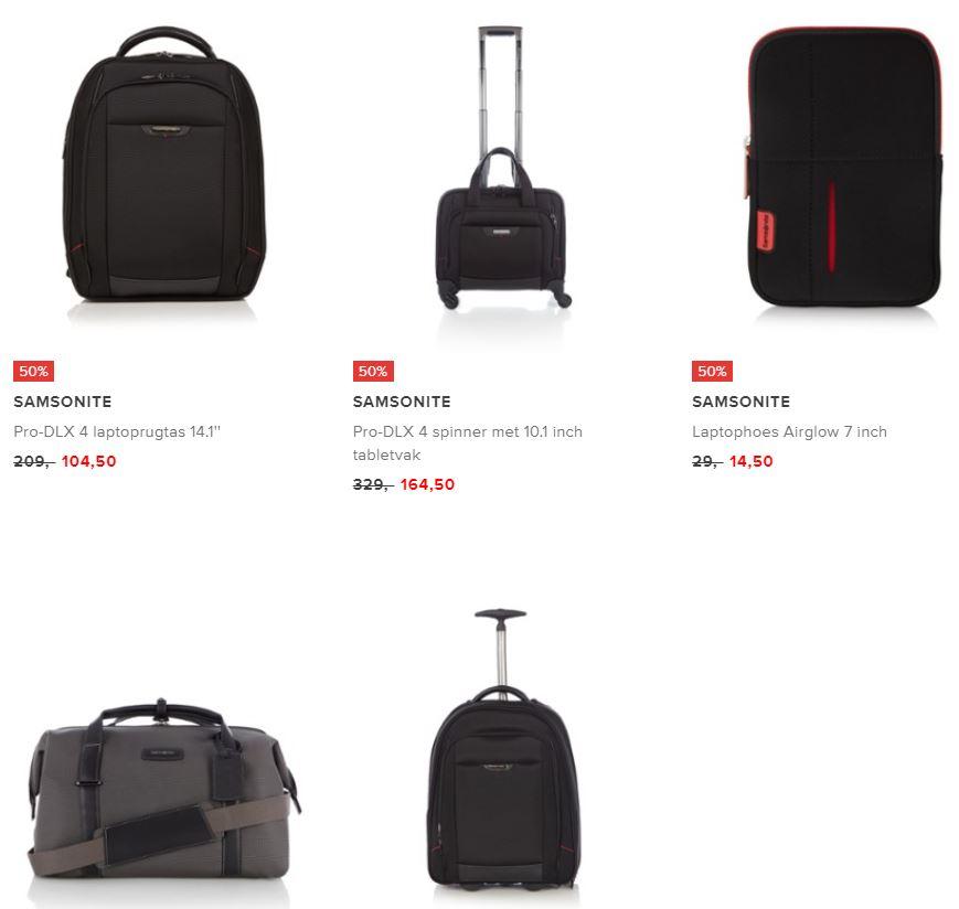 Diverse Samsonite koffers / tassen / rugzakken -50% @ De Bijenkorf