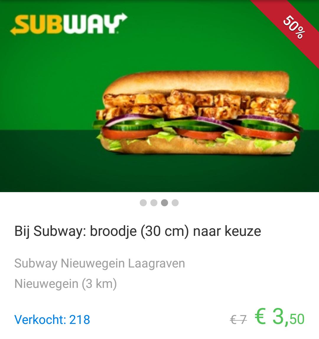 Subway menu voor €4,50 in Winschoten en 30cm Sub voor €3,50 in Nieuwegein (Social deal)