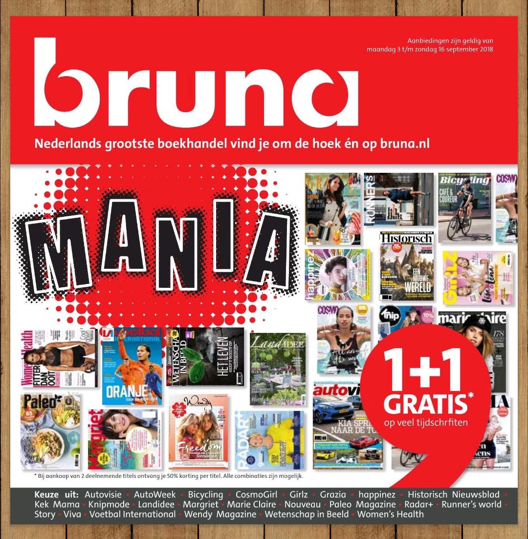 1 + 1 gratis op diverse tijdschriften bij Bruna
