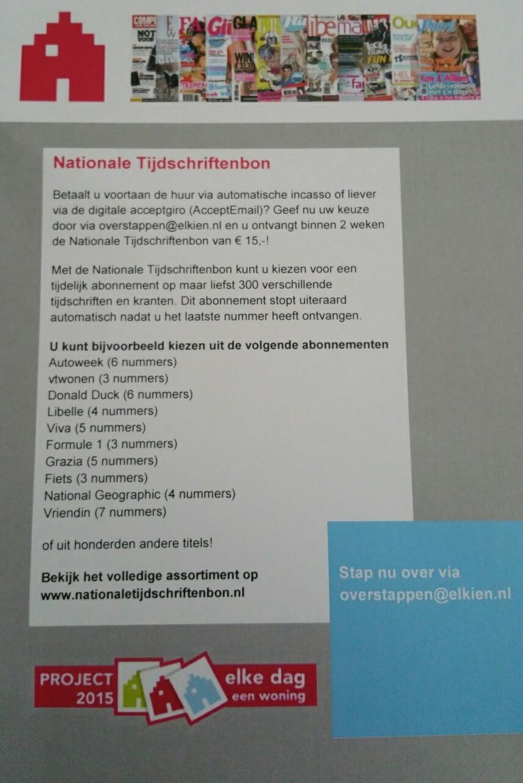 Gratis Nationale Tijdschriftbon van €15 als je de huur betaalt via automatische incasso of digitale acceptgiro @ Elkien