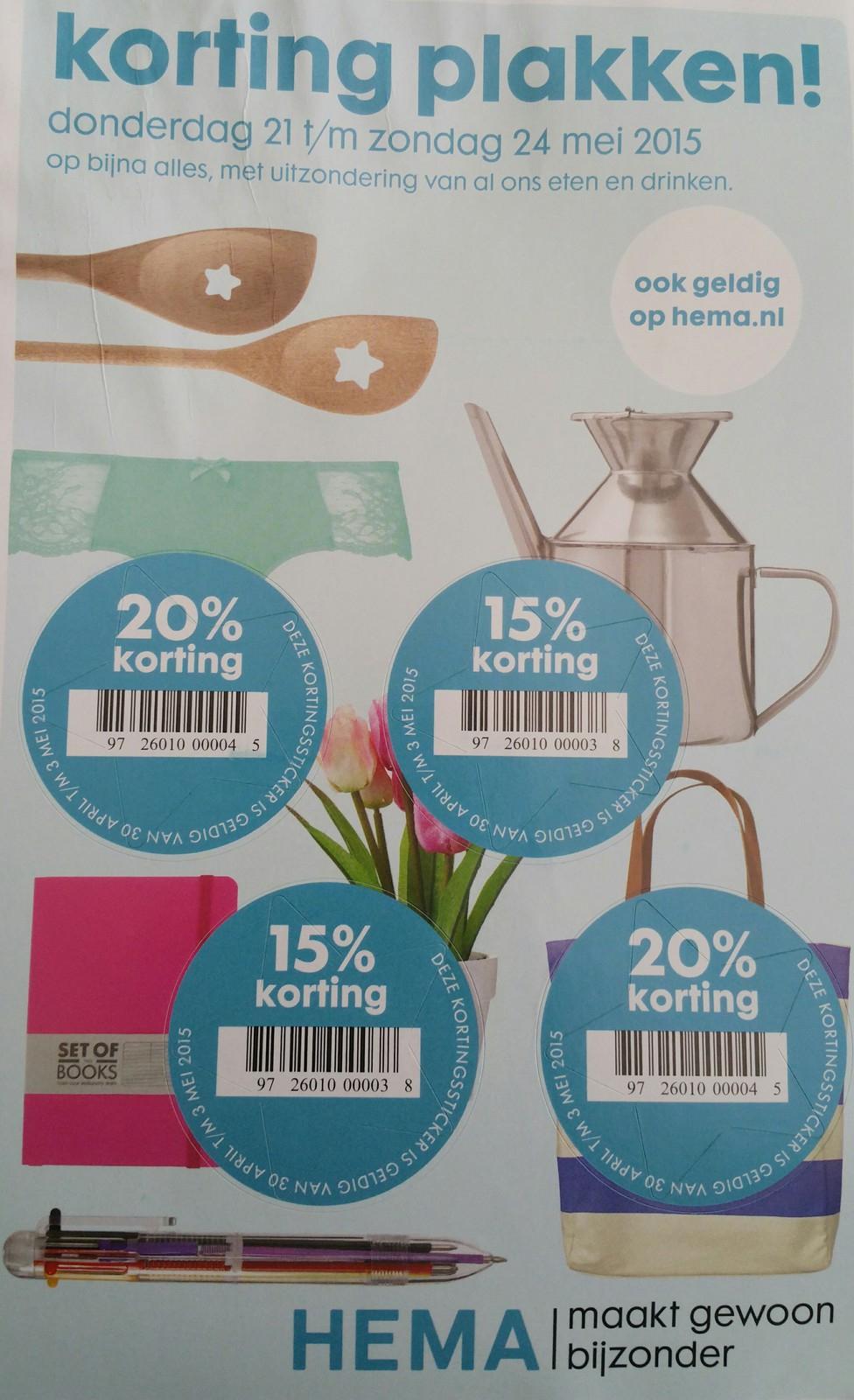 Kortingstickers met 2x20% en 2x15% korting (ook online via actiecode) HEMA