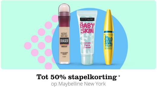 Maybelline stapelkorting 1=40%, 2=50% korting @bol.com