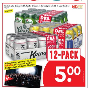 Gratis 2e kaartje bij Podium Victorie (Alkmaar) bij aankoop van een 12-pack Kornuit bij Deen