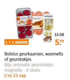 Bolsius geurkaarsen, -stokjes en waxmelts 1+1 gratis @ Albert Heijn