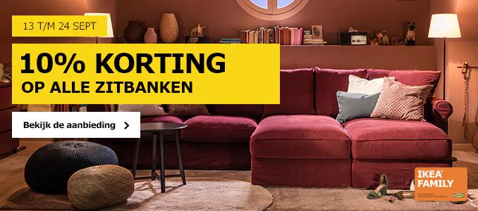 13 t/m 24 september: 10% korting op alle zitbanken / 2+1 op kussens/overtrekken @ IKEA
