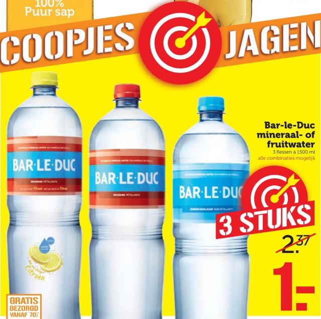 3 flessen Bar le duc mineraal-/fruitwater voor €1