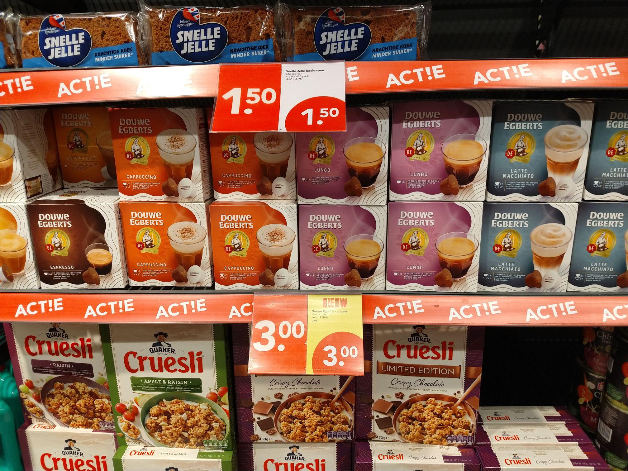 Douwe Egberts capsules voor Dolce Gusto voor € 3,- @ Deen