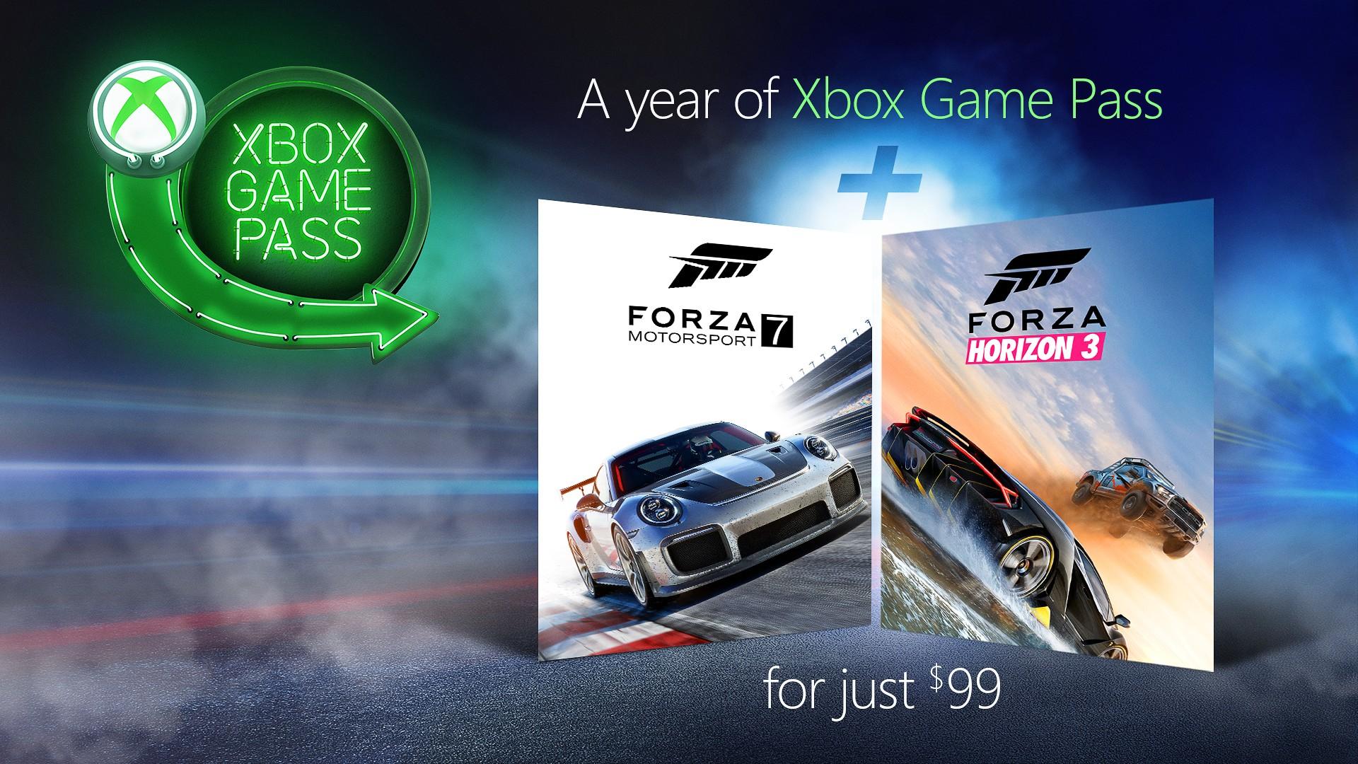 1 jaar Xbox Game Pass + Forza Horizon 3 en Forza Motorsport 7 voor €99 @ Microsoft
