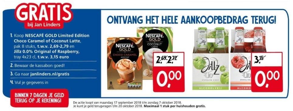 Gratis Nescafé Gold en Jillz 0,0% bij Jan Linders