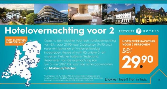 Hotelovernachting voor 2 personen €29,90 @blokker