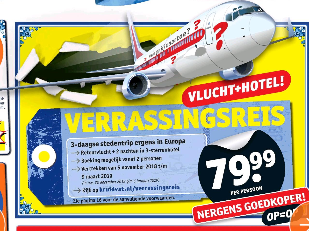 Kruidvat verrassingsreis voor €80 inclusief vlucht en hotel
