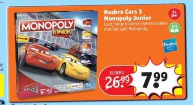 Monopoly Cars €7,99 @ Kruidvat vanaf dinsdag 18 sept.
