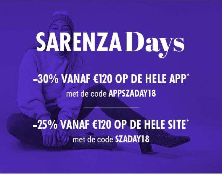 30% of 25% Korting bij Sarenza vanaf €120