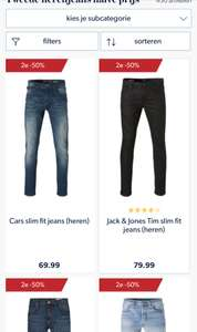 2e halve prijs jeans o.a Levi's, Jack & jones en WE