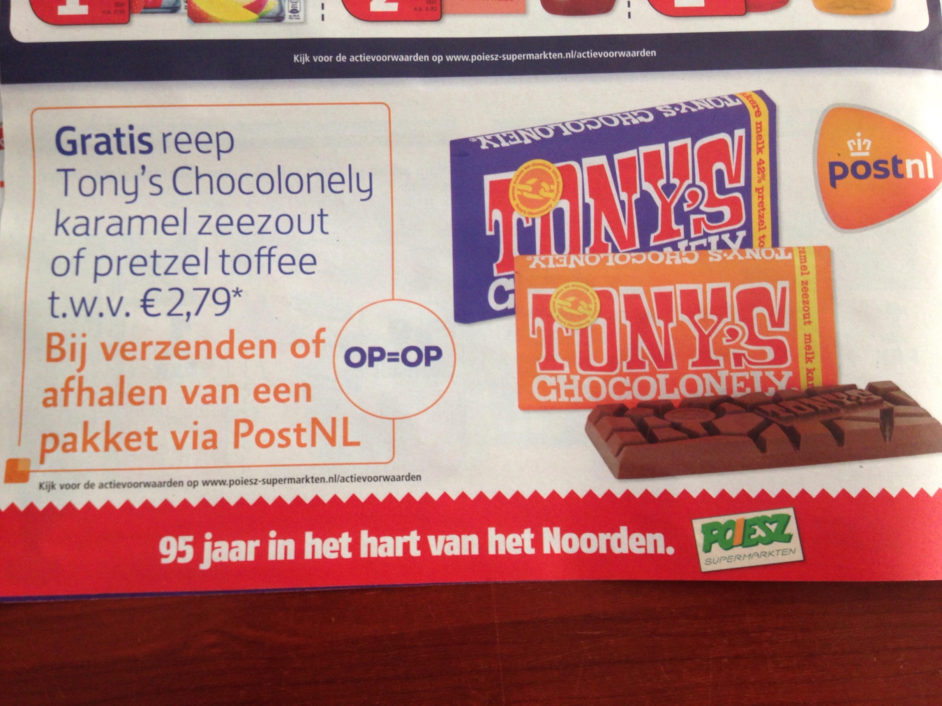 Tony's Chocolonely actie via poiesz supermarkten met een PostNL postkantoor