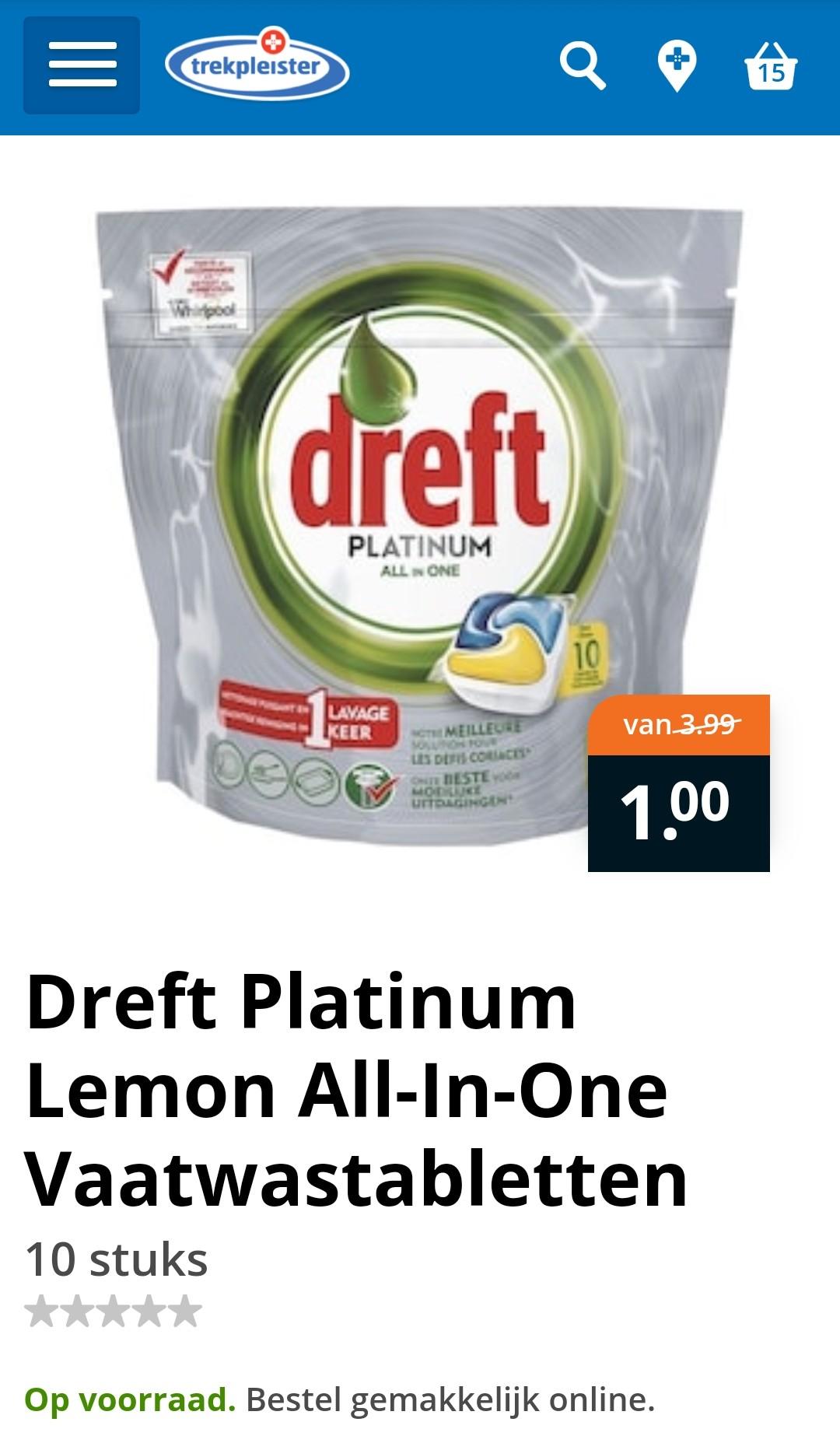 Trekpleister: Dreft Platinum Lemon All-In-One Vaatwastabletten