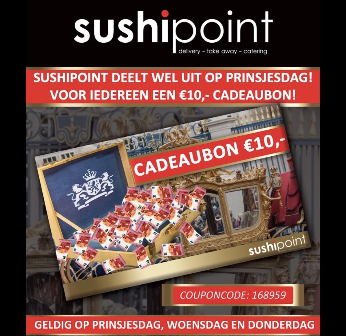 10,- euro korting @sushipoint (landelijke actie)