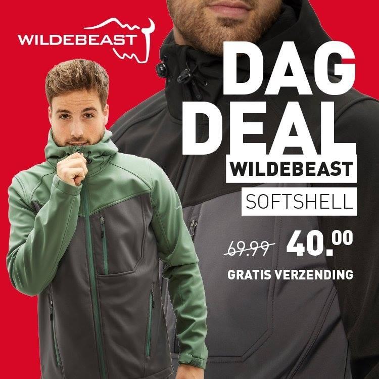 Dagdeal: Heren Wildebeast Softshell voor €40,- + gratis verzending