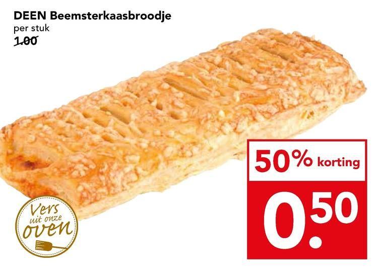 Kaas-, kroket-, frikandel of saucijzenbroodje €0,50 bij Deen (lokaal?)