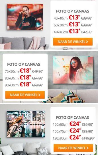 Korting op 9 Canvasformaten - bestecanvas.nl