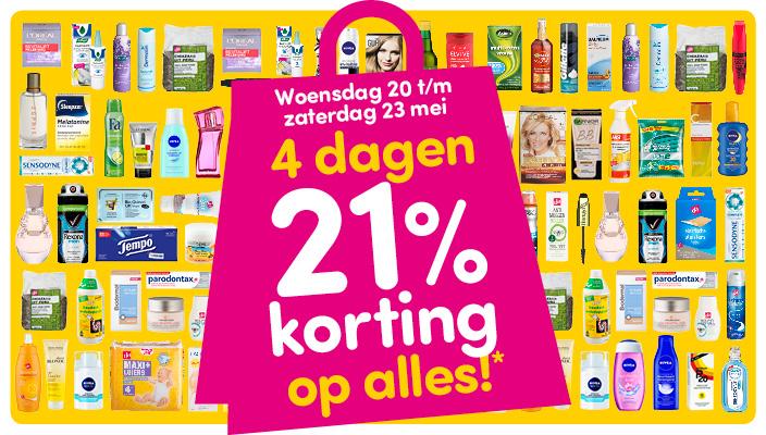 21% korting op (bijna) alles @ DA