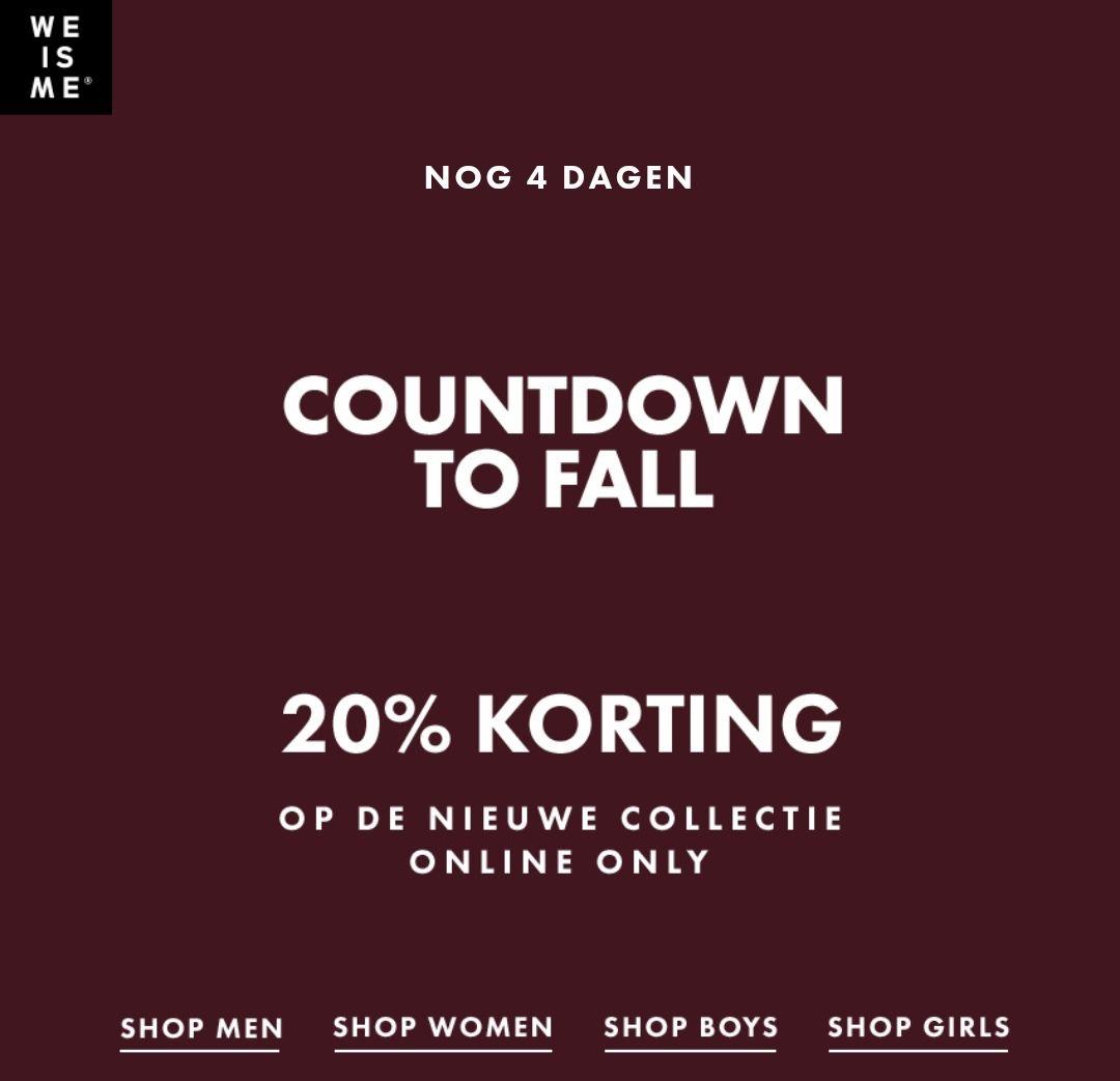 20% korting op de nieuwe collectie bij WE Fashion