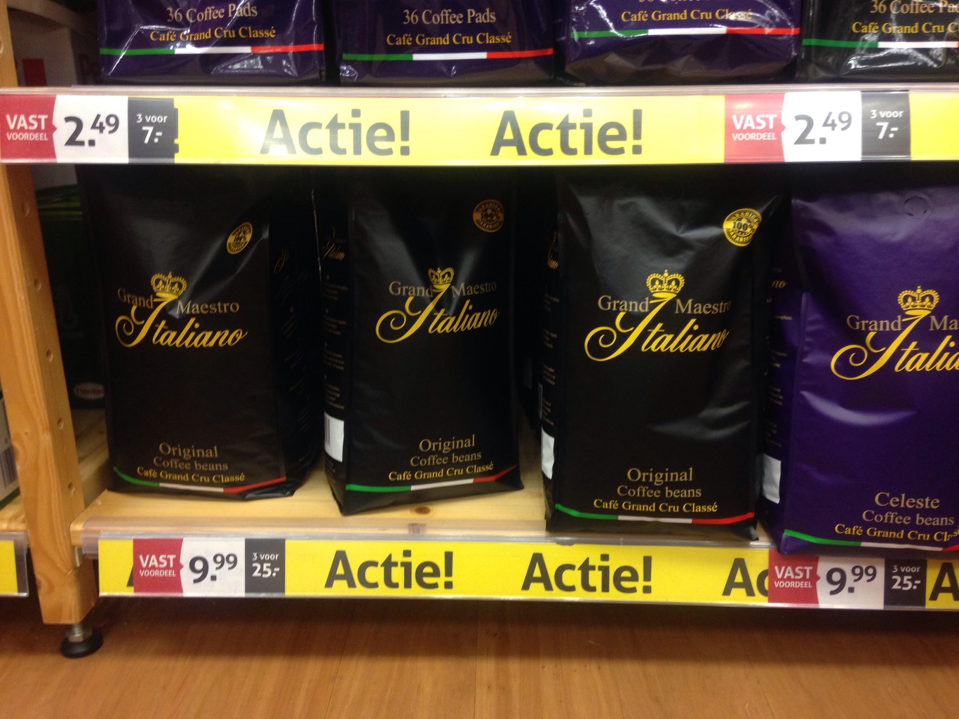 3 kg koffie huismerk van koffievoordeel.nl maar bij op=op 10,97€ goedkoper per 3 stuks