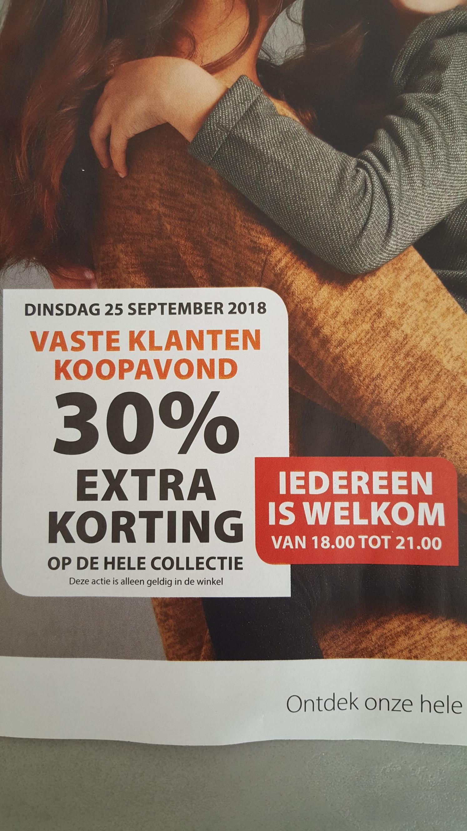 Dinsdag 25 september 30% extra korting op de hele collectie tussen 18.00 en 21.00 uur (alleen geldig in de winkel) @terStal