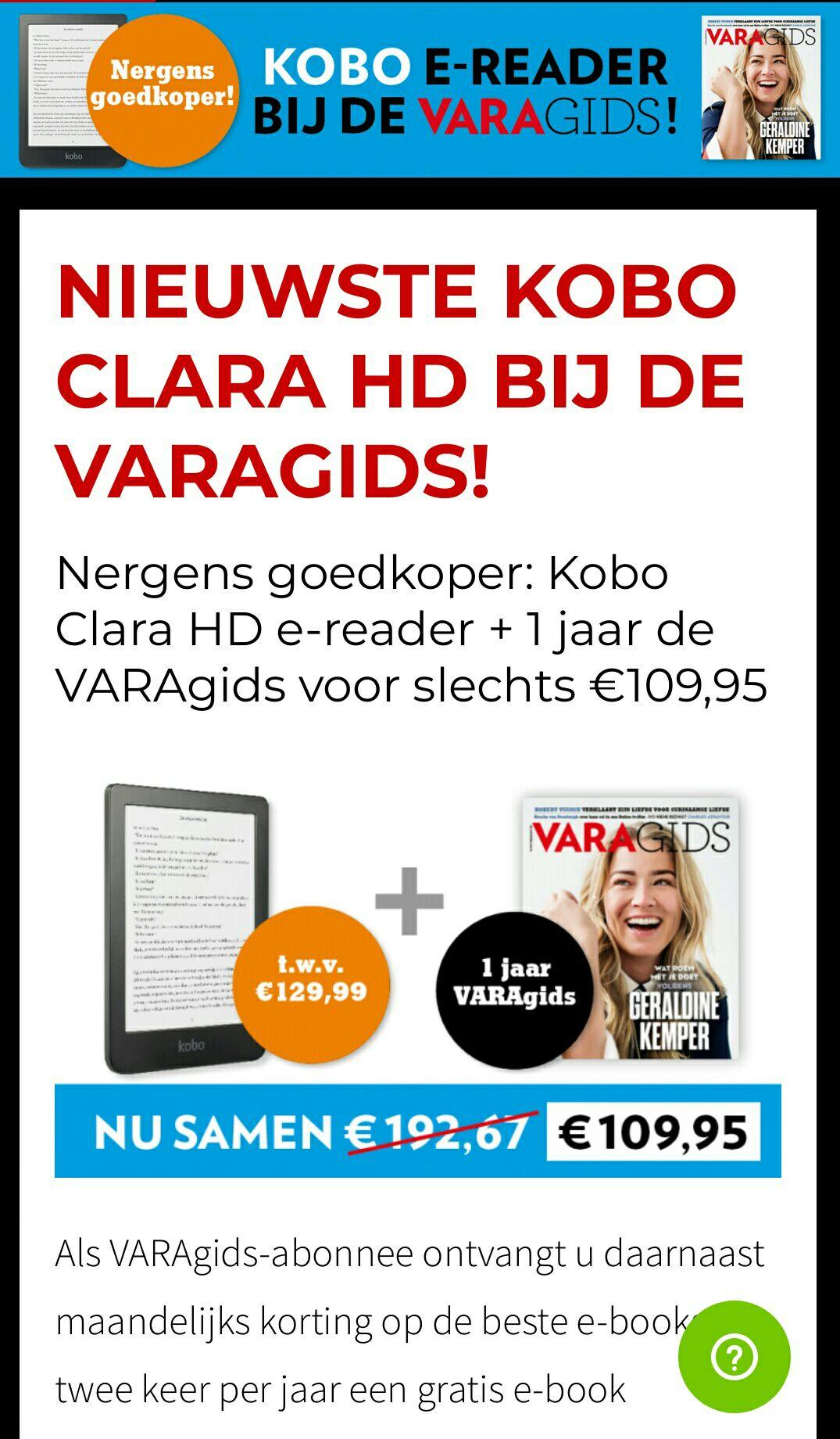 Nieuwste Kobo Clara HD ereader a 129,99 met varagids voor mooie prijs