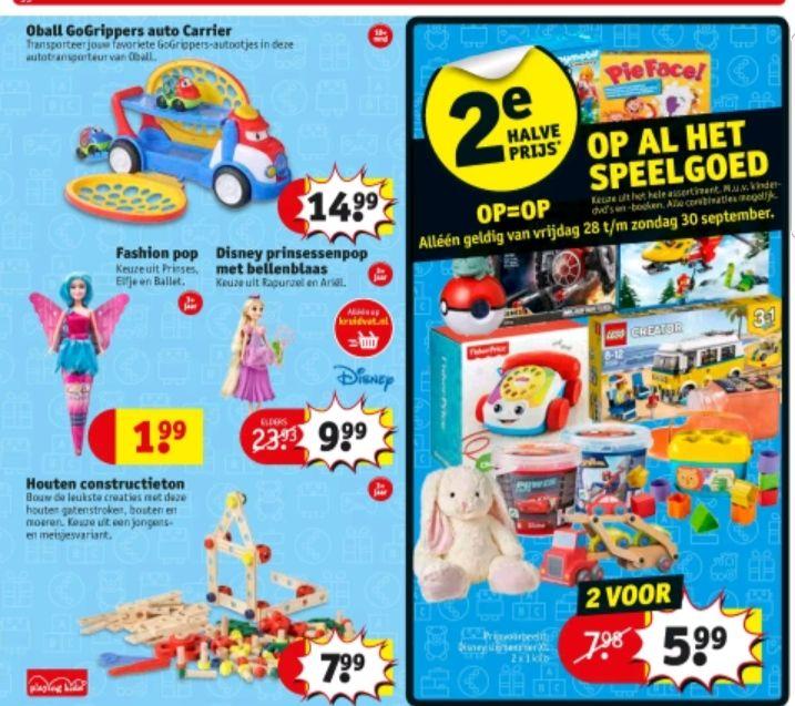 @Kruidvat, speelgoed 2e halve prijs, alleen op 28sept-30sept
