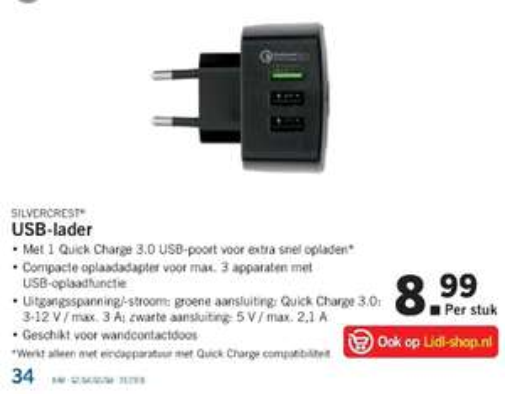 Silvercrest USB stekker met QC 3.0 @ Lidl + Lidl Shop ( + verzendkosten )