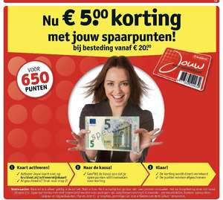 650 punten verzilveren voor €5 @ Kruidvat